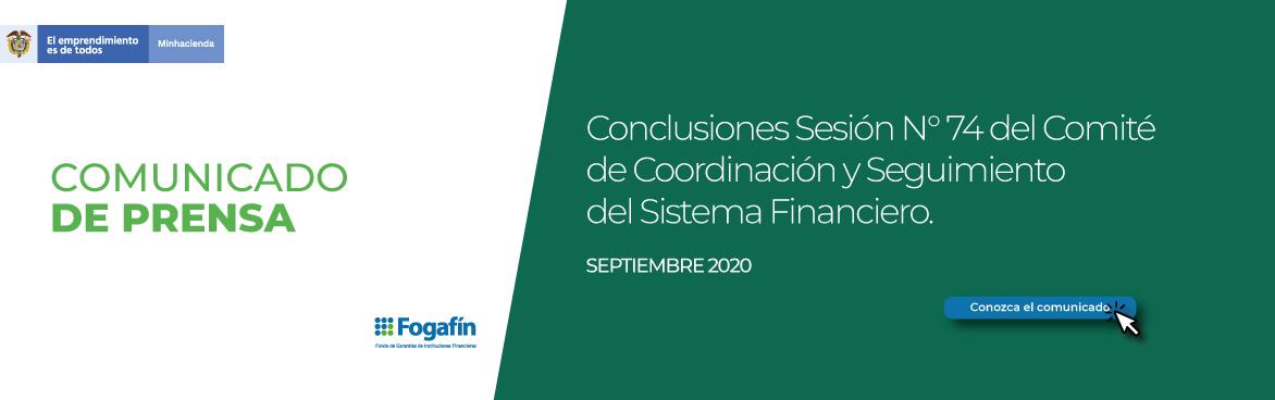 Comunicado Comité de Coordinación del Sistema Financiero No. 74